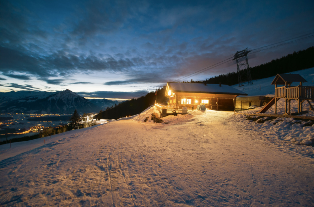 Nachtschlitteln auf dem Niederhorn